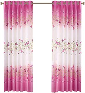 Fashionmall 2 Pcs Butterfly Flowers Printing Semi-Blackout Curtains Grommet Top Curtains Window Curtain Panels for Girls R...