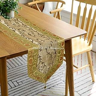 DK Homewares Indien Décor De Cuisine 35 X 180 Cm Nappe De Table Brocart Or Broderie Jacquard 6 Pieds Chemin De Table (72 X...