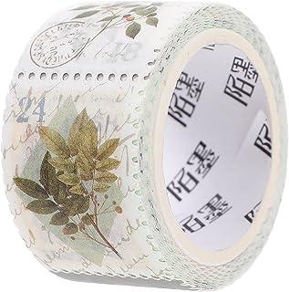 HEALLILY 1 Roll Vintage Paper Sticker Green Leafy Tour DIY Label Retro Stamp Decals for Scrapbooking Planner Album Card Ar...