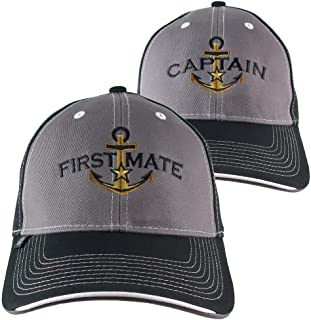 ac74a957a31 2 Hats Nautical Golden Star Anchor Captain + First Mate Embroidery  Adjustable Grey + Black Structured