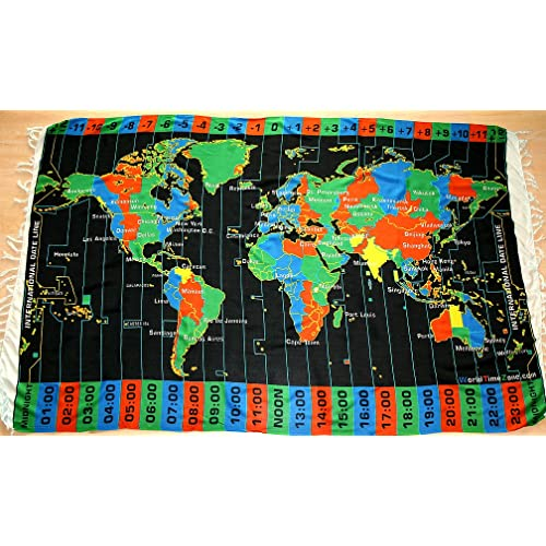 Universal Time Zone Map.Amazon Com Black World Time Zone Map On Cloth With Standard Time