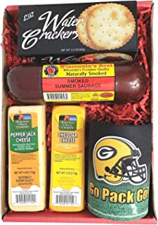 Packers Snacker Gift Basket - features Smoked Summer Sausages, 100% Wisconsin Cheeses, Crackers and a Packers Coozie