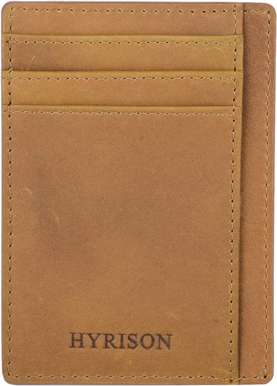 HYRISON Slim Minimalist Wallet Genuine Leather Front Pocket for Men Women RFID Blocking (Vintage, Caramel)