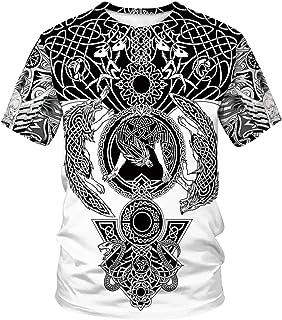 DUOLIFU Unisex 3D Printed Cool Vikings Tattoo Norse Mythology Blouse T-Shirt Tops