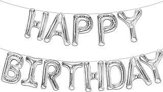 Happy Birthday Balloons for Silver Party Decorations - 16 Inch, Slim Design I Silver Mylar Foil Balloon I Happy Birthday L...