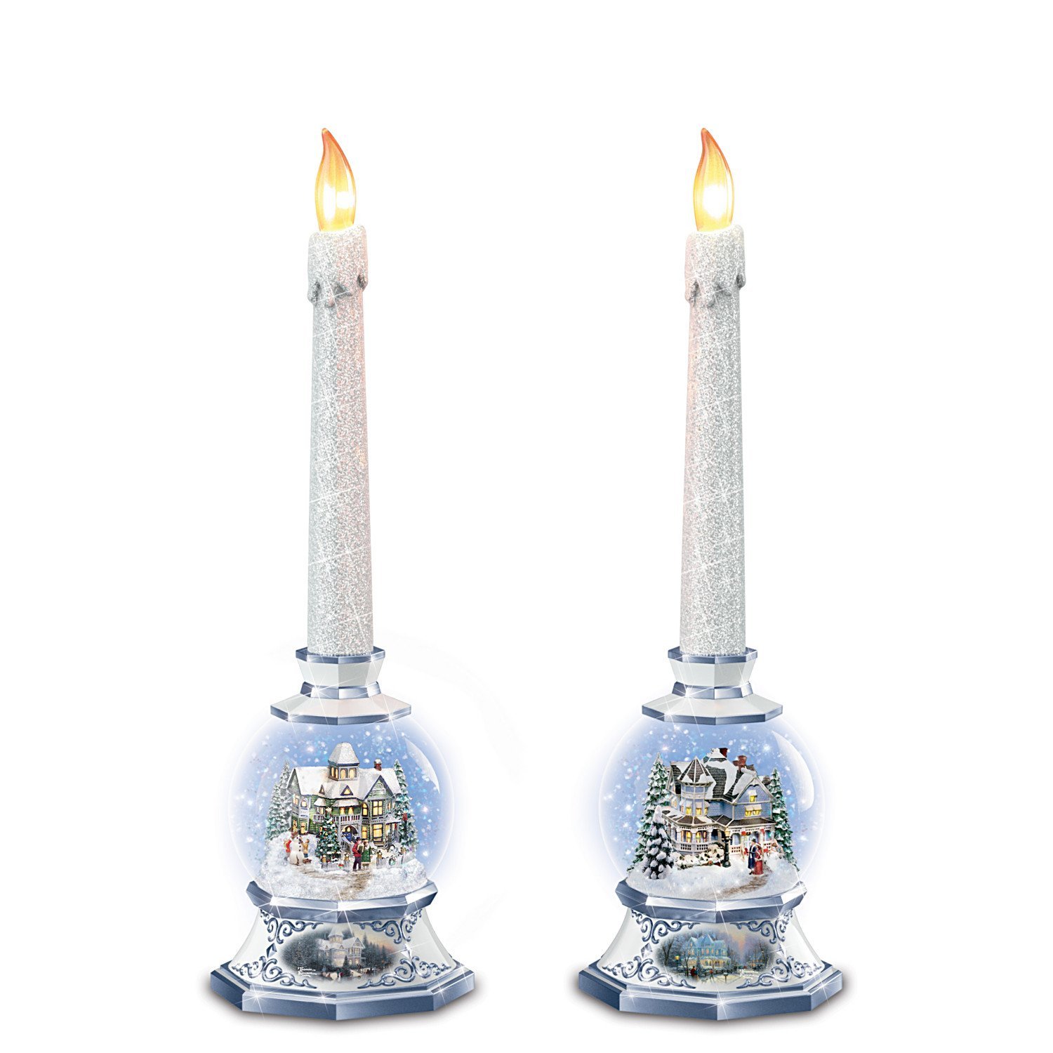 Image of Lighted Thomas Kinkade Victorian Christmas Snowglobe Candleholders