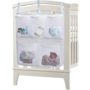 Sleeping Lamb Baby Nursery Organizer for Clothing Diapers Toys Hanging Storage bag 5 Pockets Bedside Caddy (White)