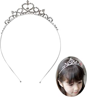Honbay Flower Girls Crystal Rhinestones Heart Shaped Crown Headband Tiara for Wedding Birthday Party
