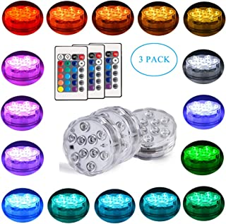 3 Pack Submersible Led Lights, Seed Remote Control Underwater 10-LED RGBW Color Changing Waterproof Battery Operated Submersible Lights for Party Wedding Vase Pool Fountain Aquarium Bathtub Decoration