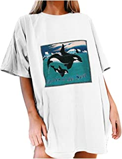 Women Shirts, The Voice of The Sea' Dolphins Print Teen Girls Fashion Fairy Tale Casual Short Drop Sleeve White Tee Shirts...