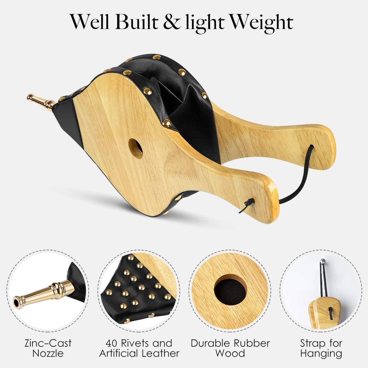 CADARA Fireplace Bellows Solid Wood Air Bellow 17 x 7.5 inch with Hanging Strap for Fire Pit Camp BBQ Fire Place Wood Stove Accessories Black