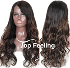 TopFeeling Ombre Brazilian Lace Front Wig Ombre Human Hair Wigs for Black Women Highlight Body Wave 1b/33 Lace Front Wig