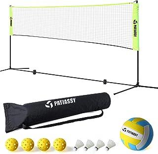 Patiassy Portable Volleyball Badminton Net Set - 17ft Indoor Outdoor Adjustable Height Net with Poles, 4 Shuttlecocks, 4 P...