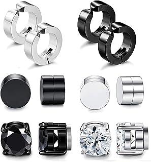 Adramata 6 Pairs Stainless Steel Magnetic Stud Earrings for Men Women Clip On Hoop Huggie Non-Pierced Earrings Set