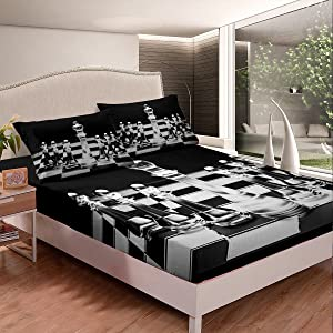 Erosebridal International Chess Fitted Sheet for Boys Teens Men,Board Game Fitted Bed Sheets Queen Size,Geometric Checkerboard Bedding Sets Chess Piece 3 Piece Bedding Decor Set