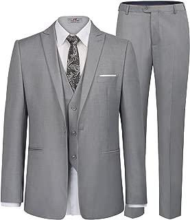 Men's Slim Fit 1 Button 3-Piece Dress Suit Blazer Coat Tux Vest Pants