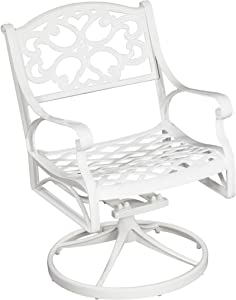 Home Styles Biscayne White Swivel Outdoor Arm Chair, Constructed of Cast Aluminum, Nylon Glides on all Legs, Weather resistant and Sturdy