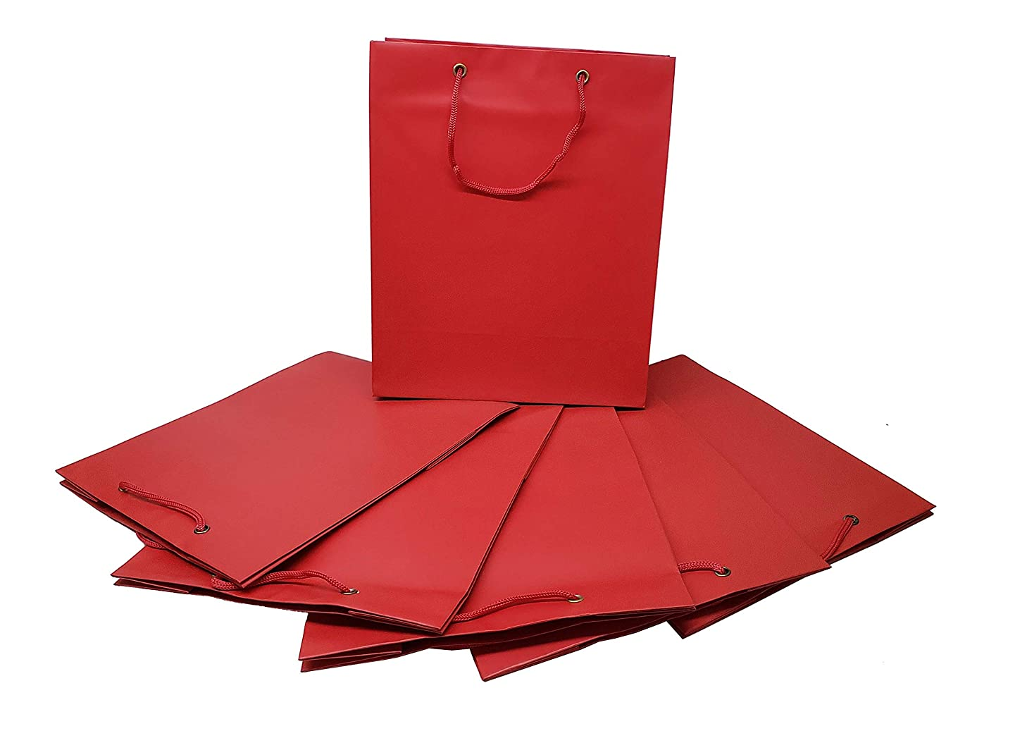 """Pack of 6 Solid Colored Gift Bags (12"""" h x 10"""" w x 5"""" d) with String Handles (Red)"""