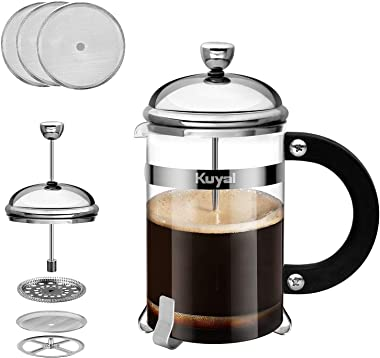 Glass French Press Coffee Tea Maker, 27 oz 800ml Stainless Steel Coffee Press with 3 Extra Filter Screens, Borosilicate Glass