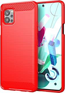 Wuzixi Case for LG Q92 5G.Soft silicone sleeve design, shockproof and durable, Cover Case for LG Q92 5G.Red