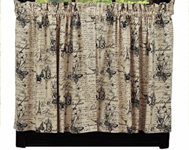 """New IHF French Postcard Kitchen/Cafe Curtain Tier Window 72"""" x 36"""" with Cream Color"""