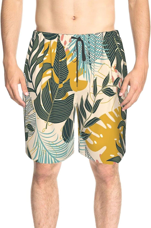 JINJUELS Mens Swim Trunks Summer Tropical Leaves Swim Board Shorts Drawstring Elastic Swimming Trunks with Mesh Lining