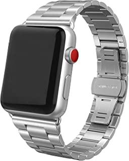 SWEES Stainless Steel Metal Bands Compatible with Apple Watch 42mm 44mm Series 5 Series 4, Series 3, Series 2, Series 1 Sports & Edition, Replacement Ultra Thin Slim Link with Metal Clasp, Silver