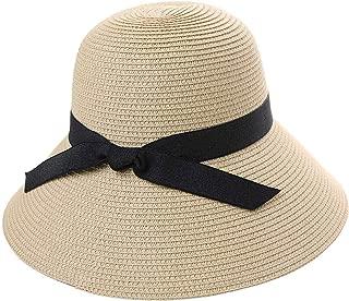 SiggiHat Comhats Packable UPF Straw Sunhat Women Summer Beach Wide Brim Fedora Travel Hat 54-59CM - Beige - Medium