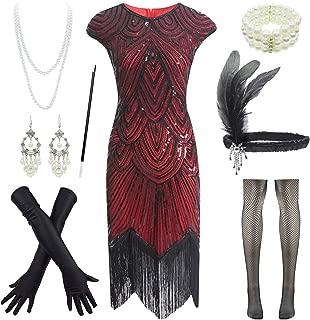 1920s Flapper Dress Roaring 20s Great Gatsby Fringed Sequin Dress Accessories Set
