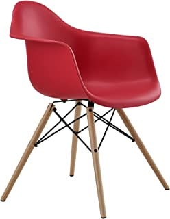 DHP Mid Century Modern Chairs With Wood Legs, Red