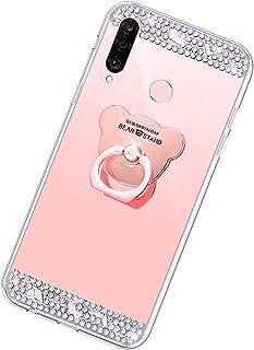 Funda Compatible con Huawei P30 Lite.Espejo Oso Anillo Lentejuela Brillo TPU Silicona Suave Carcasa Purpurina Glitter Cove...