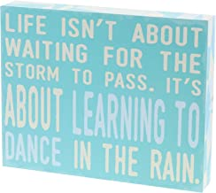 Barnyard Designs Life Isn't About Waiting for The Storm to Pass Box Wall Art Sign, Primitive Country Farmhouse Home Decor Sign with Sayings 10