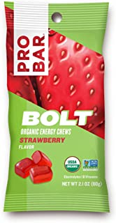 PROBAR - Bolt Organic Energy Chews, Strawberry, Non-GMO, Gluten-Free, USDA Certified Organic, Healthy, Natural Energy, Fast Fuel Gummies with Vitamins B & C (12 Count) Packaging May Vary