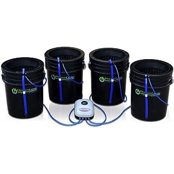 "Deep Water Culture (DWC) Hydroponic Bubbler Bucket Kit by PowerGrow Systems (4) 5 Gallon - 10"" Buckets"