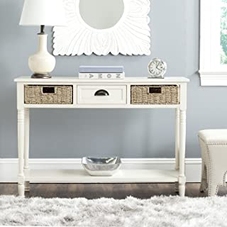 Safavieh American Homes Collection Winifred White Wicker Console Table with Storage