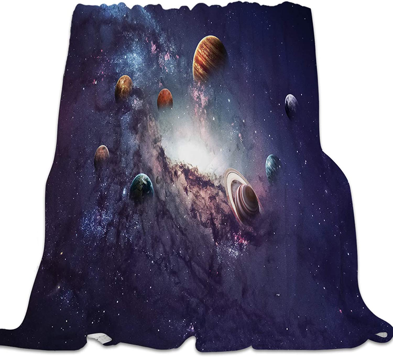 YEHO Art Gallery Flannel Fleece Bed Blanket Super Soft Cozy ThrowBlankets for Kids Girls Boys,Lightweight Blankets for Bed Sofa Couch Chair Day Nap,Solar System Universe Pattern,49x59inch