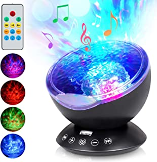 Ocean Wave Projector, Remote Control Night Light With 7 Colors Changing Undersea Lights,Built-in Mini Music Player Desk La...