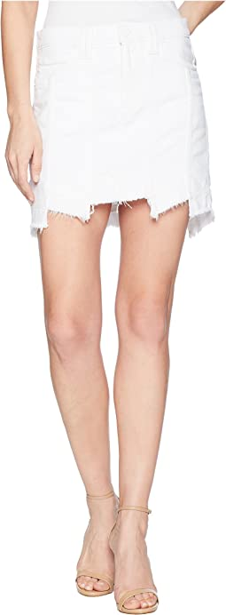 Weekender Step Hem Jean Skirt in White