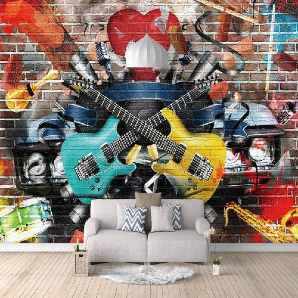 Custom Wallpaper Brick Wall Guitar Kids Deco Directly managed store Music Shipping included Room Graffiti