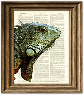 Chuck the giant Iguana art print on vintage upcycled dictionary page book art print