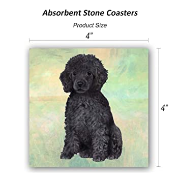 Absorbent Stone Coasters Set of 4 Poodle SJT24755 Black