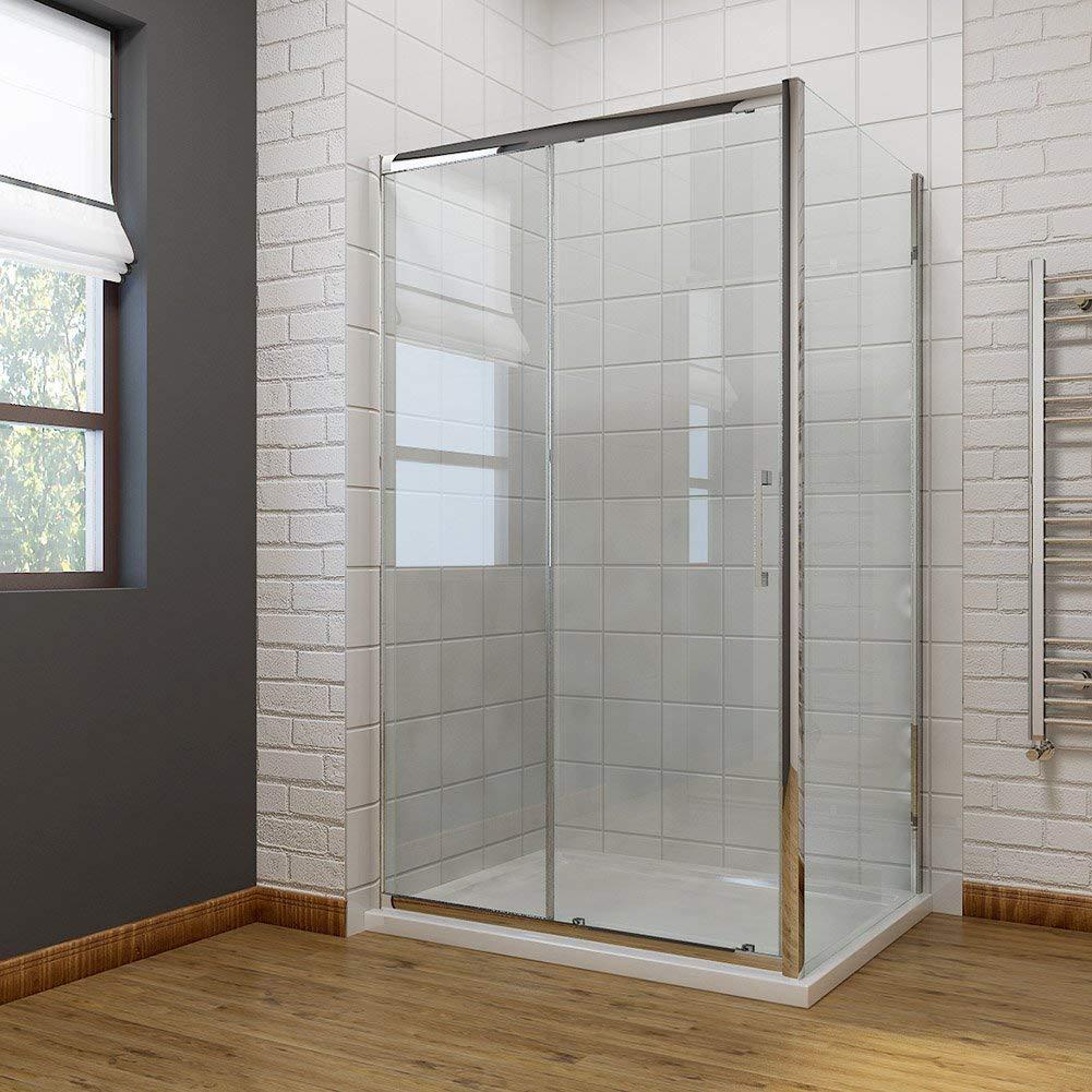 Gabinete deslizante de ducha cubículo baño moderno 8 mm fácil de limpiar para mampara de ducha de cristal con piedra bandeja + Panel lateral: Amazon.es: Bricolaje y herramientas