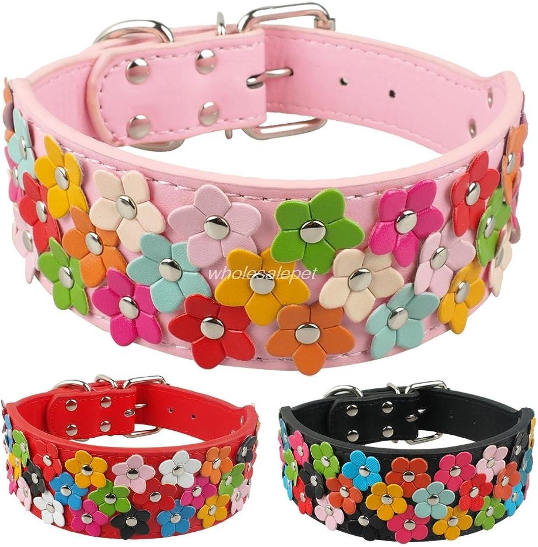 Bosuntech(TM)Flower Studded Dog Collar New Arrival Leather Pet Collar S M L XL Pink Black Red
