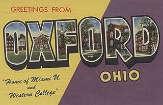 Oxford, Ohio - Miami U and Western College - Vintage Halftone (24x36 Fine Art Giclee Gallery Print, Home Wall Decor Artwork Poster)
