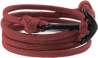 Anchor Bracelet Nautical Rope Paracord Bracelet Handmade Nylon Cord Motivational Wristband Sailor Charm Black Silver Adjus...