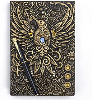 Embossed Leather Journal Writing Notebook - Antique Handmade Leather Daily Notepad Sketchbook, Travel Diary & Notebooks to Write in, Phoenix Gift For Men & Women, with Golden Classic Pen, (Bronze)
