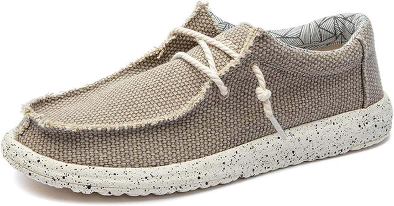 ZHIMING Summer Autumn Comfortable Casual Shoes Mens Canvas Shoes for Men Brand Fashion Flat Loafers Shoe (Color : Khaki 01, Size : 11)