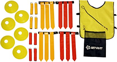 Get Out! American Flag Football Set, Football Practice Flags & Scrimmage Gear Kit for 12 Players with Referee Equipment