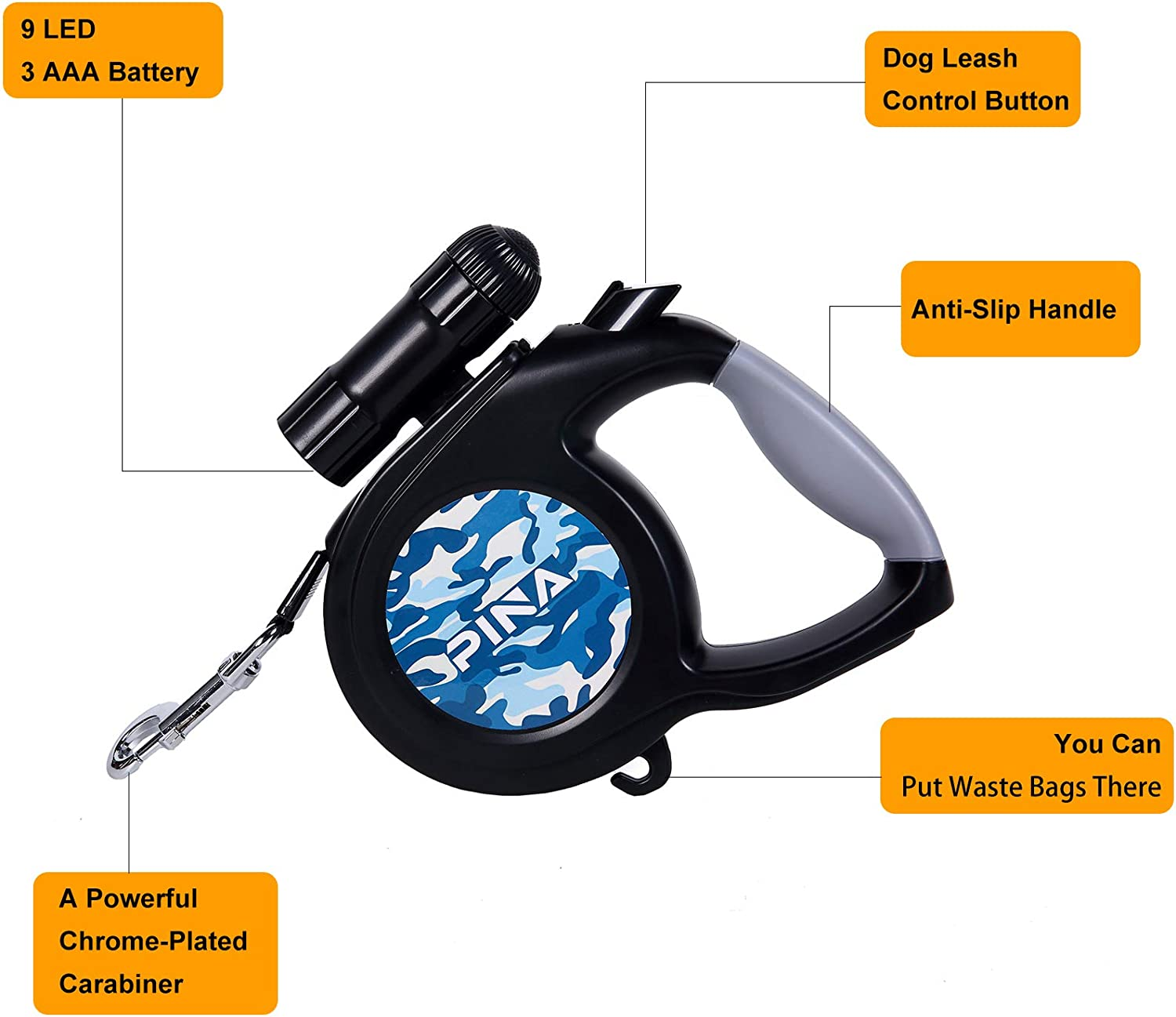 Retractable Leashes Pet Supplies Black and Camouflage Blue Tangle ...