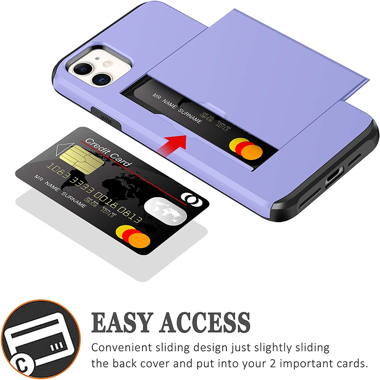 SAMONPOW for Wallet Case Compatible with iPhone 12 Case with Card Holder Dual Layer Hybrid Shell Shockproof Protection Cover Case Compatible with iPhone 12/12 Pro 6.1 inch Light Purple